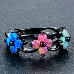 Black Gold Filled Multi-colored Opal Flower Ring